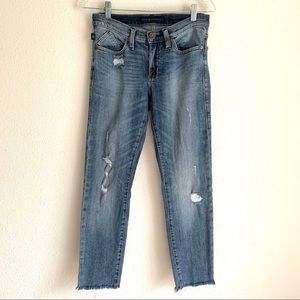 Rock & Republic Berlin distressed raw hem jeans